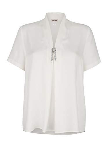 Alba Moda Damen Bluse Kurzarm in Off-White aus Viskose mit elegantem Strassbesatz