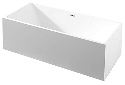 Bernstein Badshop Freistehende Badewanne NADI aus Acryl rechteckige Standbadewanne in Weiß - 170 x 75 x 60 cm