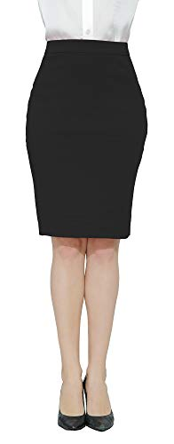 Marycrafts Women's Work Office Business Pencil Skirt XL Black