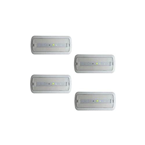 Pack 4 unidades de Luces de Emergencia Led de 3W permanente/no permanente con AUTOTEST. Luz Fría 6000k. Led SMD alto rendimiento. Instalación en superficie y empotrable. Resistente al fuego [Clase de eficiencia energética A+]
