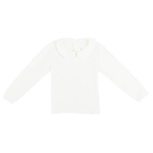 Baby Jungen Mädchen Baumwolle Langarmshirt Peter Pan Kragen Knopfverschluss Elastische T-Shirts für 0-2 Jahre alt - Einfarbig Weiß Herstellergr. 80