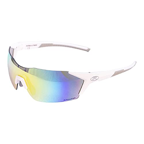 RAWLINGS Lightweight Adult Sport Baseball Sunglasses Durable Mens, Scratch Resistant - White/Multi
