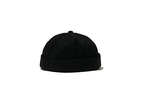 Anetory Mens Adjustable Solid Brimless Hat Vogue Retro Skullcap Sailor Cap, Black, One Size