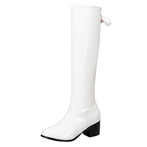 MOTOCO Frauen Kniehohe Stiefel Damen Blockabsatz Stretch Kalb Reißverschluss Bogen Leder Oberfläche Stiefel(35 EU,Weiß)