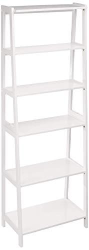 AmazonBasics - Libreria aperta a 5 livelli, classica, in legno massello dell'albero della gomma – Bianco