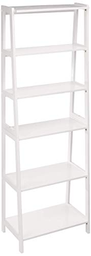 AmazonBasics - Klassisches offenes Bücherregal mit 5 Fächern und massivem Kautschukholz - Weiß