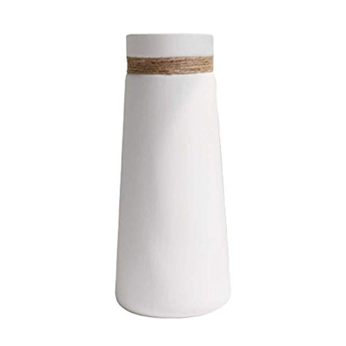 HEALLILY florero de cerámica Blanca con Cuerda de cáñamo florero Decorativo decoración para el hogar