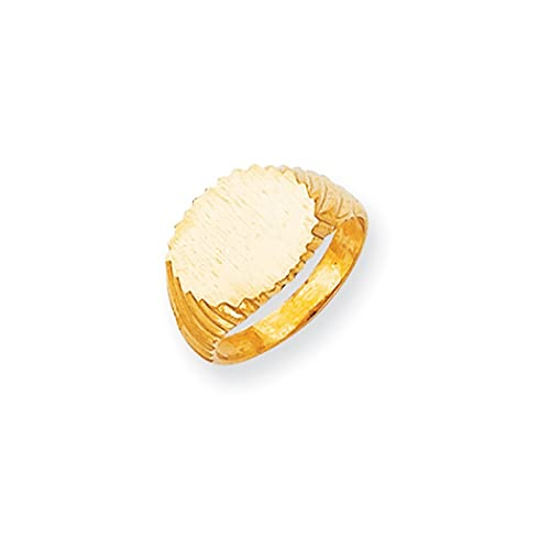 Anillo de sello grabable de 14 quilates con parte trasera sólida, tamaño N 1/2 para regalo de joyería para mujer