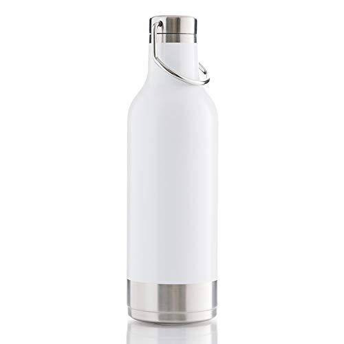 BOHORIA® Premium Isolierte Edelstahl Trink-Flasche 500ml – Thermo-Flasche – Wasserflasche – Doppelwandig & Vakuumisoliert - Flasche für Arbeit, Schule, Universität, Sport, Reisen (Handle White)