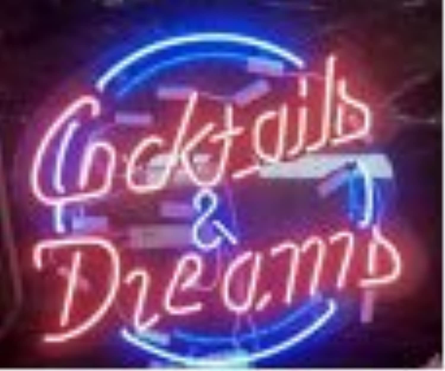 Cocktails and Dreams Hand Crafted Glass Tube neon Sign 17(w) insx13(h) ins Neon Sign Lights Beer Bar Sign