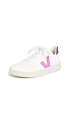 Veja Sneaker V-10 In Pelle Bianca Con Logo Viola