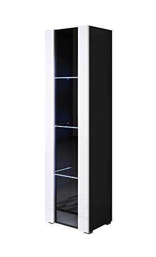 muebles bonitos Vitrina Modelo Luke V5 (40x167cm) Color Negro y Blanco con Patas estándar