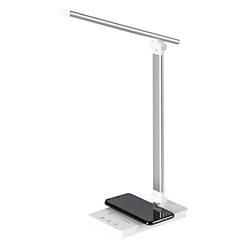 Leelike Lámpara de escritorio LED, Flexo Escritorio LED regulable, 5 colores y 5 niveles de brillo, protección ocular, control táctil, función de temporización, con cargador inalámbrico