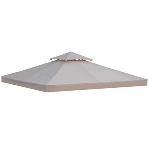 Outsunny Toile de Rechange pour pavillon tonnelle Tente 3 x 3 m Polyester Haute densité 180 g/m² Beige