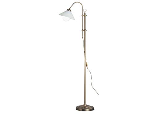 Höhenverstellbare dimmbare LED Stehlampe LANDLIFE in Altmessing, schwenkbarer Glasschirm