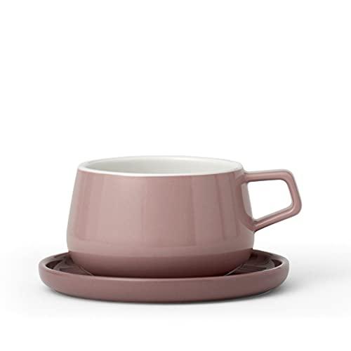 Teetasse oder Kaffee-Tasse mit Untertasse, aus Porzellan, mit Henkel, 0.3 Liter, Rosa