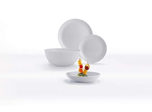 Dajar 00438 Tafelservice Hartglasgeschirr Geschirrset Tafelset Essservice Geschirr Diwali Granit 19 Tlg. Geschenk glatt stapelbar modern Glas Spülmaschinen Mikrowellen geeignet LUMINARC, grau