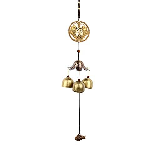 JJSPP Metal Cobre Viento chimenes Peces Metal Campana Feng Shui Colgando Viento Chime Ornamento