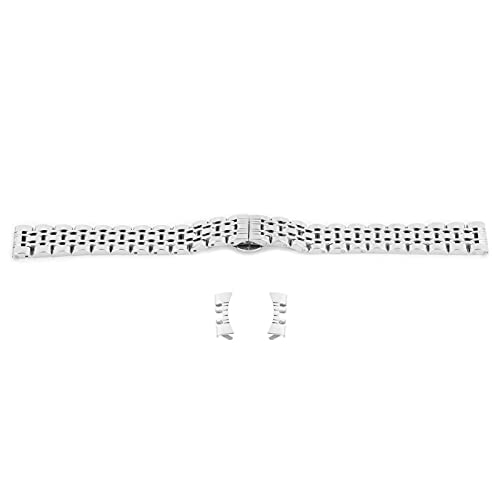 Correa de reloj de acero inoxidable de 14 mm, correa de reloj de repuesto, accesorio de correa de reloj de enlace sólido para mujeres y hombres(Plata)