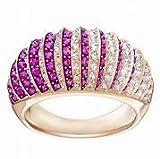 ddj 5412038 - Anillo de Lujo, Chapado en Oro Rosa, con Cristales Rosas y Blancos, tamaño 5,5