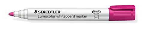 STAEDTLER Whiteboard Marker Lumocolor 351-20 - Rotulador para pizarra blanca (2 mm, secado rápido, sin olores, larga duración, punta bloqueada, 10 rotuladores en caja plegable), color rosa