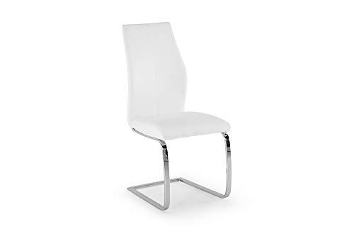 Harrison Vale Levin Esszimmerstuhl, verchromte Beine, Weiß, 2 Stück, Einheitsgröße
