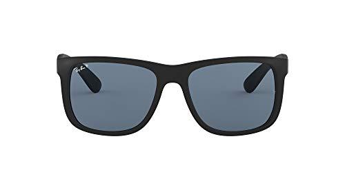 Ray-Ban 0RB4165 Justin Classic Sonnenbrille Large (Herstellergröße: 55), Schwarz (Gestell: Schwarz, Gläser: Polarized Blau Klassisch 622/2V)