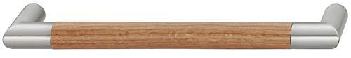 Gedotec Moderner Schubladengriff 192 mm Möbelgriff Küche - AGRA   Holz-Griff Eiche & Edelstahl-Optik   Küchengriff für Schrank-Türen & Möbel - Schubladen   1 Stück - Design Schrankgriff mit Schrauben