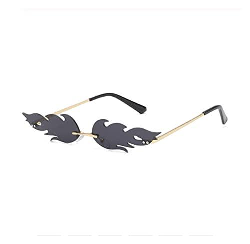 Gafas de Sol de Ojo de Gato de Lujo Mujeres Vintage Diseñador de Marca Rimless Fuego Llama Gafas de Sol Tendencia Espejo Lente Estrecho Eyewear UV400 (Color : Grey)