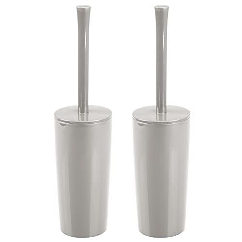 mDesign - Escobilla y soporte para inodoro de plástico delgado y compacto para almacenamiento, resistente, limpieza profunda