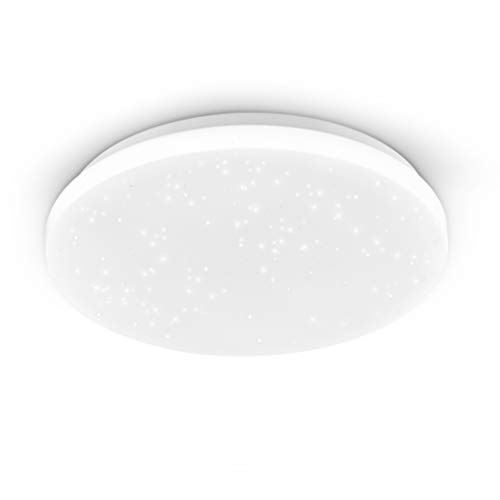 EGLO Deckenlampe Pogliola-S, Ø 31 cm, Kristalleffekt LED Deckenleuchte, 1 flammige Wohnzimmerlampe aus Stahl und Kunststoff, Lampe weiß, Kinderzimmerlampe, Küchenlampe, Bürolampe, Flurlampe Decke