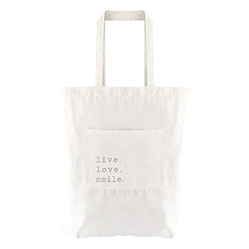 EVOLUX Bolsa de tela 100% algodón, acabado cosido, reutilizable, lavable, con asas para llevar de 24 cm 36x40 cm para ir de paseo uso diario color blanco