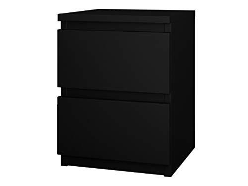 Nachttisch Malwa M2 mit 2 Schubladen, Nachtkonsole, Nachtschrank, Nachtkommode, Beistelltisch, Schlafzimmerkommode, Schlafzimmer Set (Schwarz)