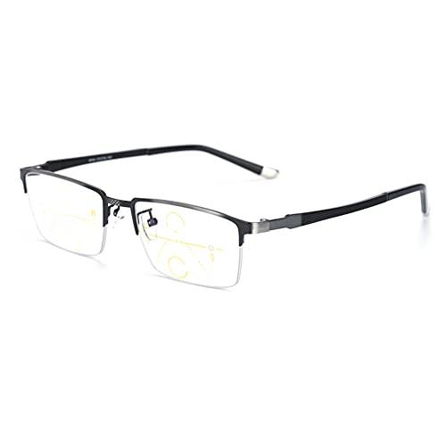 HQMGLASSES Gafas de Lectura para Hombres, Lentes Inteligentes progresivas de luz Azul Anti-Enfoque múltiple, Marco de Metal Retro Lente de Resina HD dioptrías +1.0 a +3.0,Plata,+1.5
