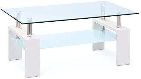 Metal, mesa de centro de cristal, cromado, mesa de sala, Transparente, Mesa de gravedad de vidrio de metal. Mesa de severidad,White