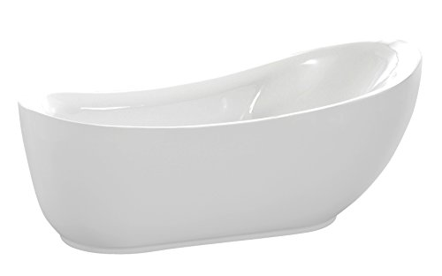 ANZZI Jarvis Whirlpool Air Jetted Acrylic Freestanding Bathtub in White | Over 200 Aero-Therapeutic Bubble Massage Jets Socking Tub with Light Up Control Pad and Four Colored Bath Lights | FT-AZ077