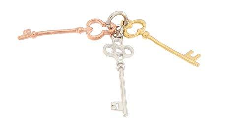 MAGICMOON - Mod. VTP10000558 - Raffinato ciondolo in argento 925 rodiato a forma di chiave stilizzata composta da 3 chiavi una di color rosè, una argento e una di color oro