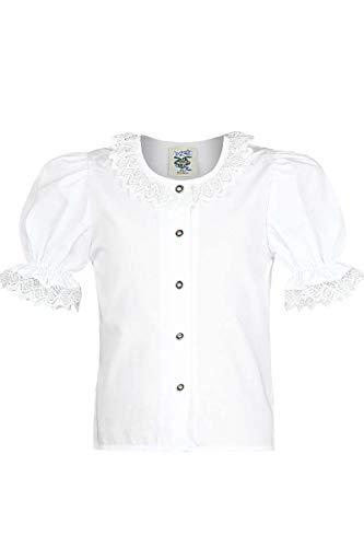 Isar-Trachten Mädchen Mädchen Trachten-Bluse mit Spitze Weiss, WEIß, 104