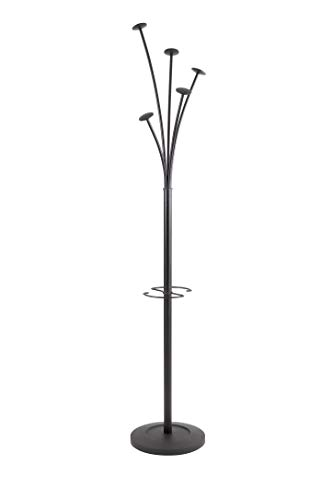 Alba PMFESTY N Festival - Perchero de pie para abrigos y sombreros (acero, con paragüero y 5 brazos), color negro