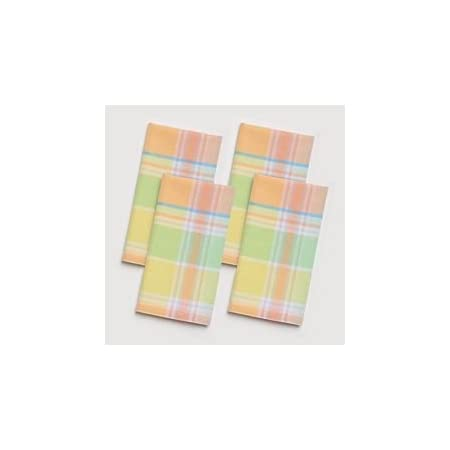 Amazon Com Celebrate Season Fabric Napkins Set Of 4 Orange Green Woven Plaid Kitchen Dining