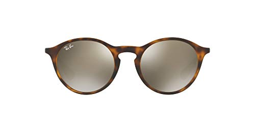 Ray-Ban RB4243L Round Sunglasses, Rubber Havana/Mirror Light Gold, 49 mm