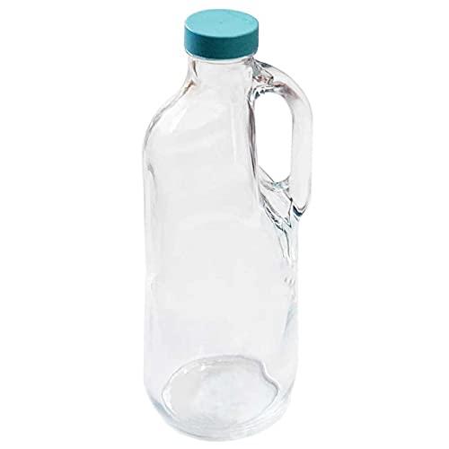 Pasabahce - Botella de cristal con asa y tapa de plástico 1,4 L. Jarra vidrio 30 x 9 cm para agua caliente/fría, té helado, bebi