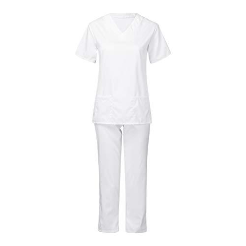 Pflege-Arbeitskleidung Outfits Unisex Uniform Schlupfjacke Top Krankenschwester Krankenhaus Berufskleidung Damen Herren-Schrubb-Set - Medizinische Uniform Mit Oberteil Und Hose