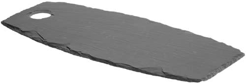 GlücksKompass Bandeja de pizarra para servir, queso, grande (45 x 18 cm) | Placa de piedra para cocina, tabla de cortar, queso, servir, piedra, bandeja, bandeja para servir, bandeja para servir
