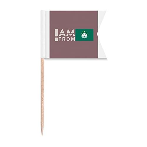 I Am from Macau Art Deco Geschenk Mode Zahnstocher Flaggen Kennzeichnung für Party Kuchen Lebensmittel Käseplatte