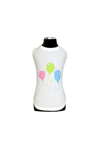 Trilly Tutti Brilli Ugo Jersey tanktop met vinyl print ballonnen, wit, S