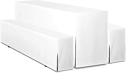 TexDeko Hussen für Bierzelgarnitur Premium 3TLG Set Bierbankhussen Tischhusse - Weiß Tischbreite 70cm