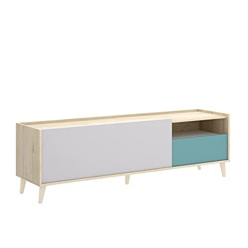 Homely - Mueble de TV diseño nórdico Nova Tablero de partículas melaminizado en Color Blanco/Esmeralda/Natural/Gris 155x43x47 cm