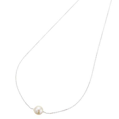[アクセサリーショップピエナ] あこや真珠 アコヤ真珠 シルバー925製 8mm 8ミリ パール 結婚式 パーティ あこや貝 シンプル かわいい 小豆 あずき 40cm 40センチ 大きめ 細め ネックレス レディース ホワイト