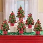 Shree Set of 6 Long Beach Mall quality assurance Festive Mini Red Christmas Trees